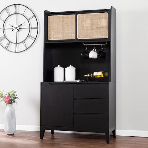 Transitional Black Wood Buffet Cabinet