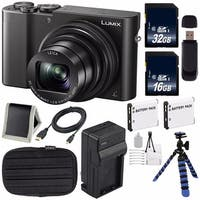 Panasonic LUMIX 4K DMC-ZS100 Digital Compact Camera (Black) + 16GB SDHC Class 10 Memory Card + 32GB SDHC Card + Tripod Bundle