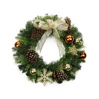 """24"""" Pre-Decorated Copper and Gold Ball Ornaments and Bow Artificial Christmas Wreath - Unlit"""