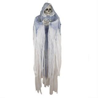 5.5' Lighted LED Hooded Ghostly Skeleton Hanging Halloween Decoration - Blue