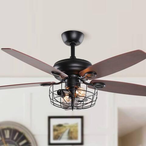 52-in Industrial Metal Chandelier Reversible 5-Blade Ceiling Fan with Remote