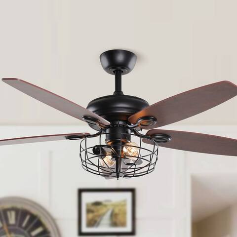 52-in Industrial Reversible 5-Blade Metal Cage Ceiling Fan with Remote