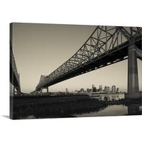 Premium Thick-Wrap Canvas entitled Greater New Orleans Bridge, Mississippi River, New Orleans, Louisiana - Multi-color