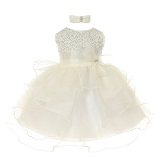 Baby Girls Ivory Organza Rhine studs Bow Sash Flower Girl Dress 6-24M