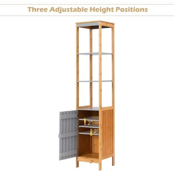 Shop Costway Bathroom Floor Cabinet Bamboo 5 Tier Concise