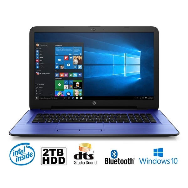 "HP 17-x035DS Intel N3710 Quad-Core, 8GB, 2TB HDD, 17.3"" HD+ WLED, Notebook (Certified Refurbished) - Purple"