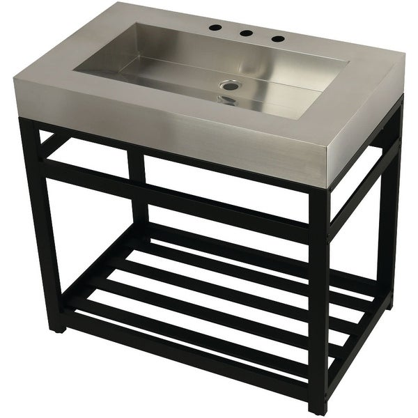 """Kingston Brass KVSP3722A Fauceture 37"""" Free Standing Console Set with Drop In Sink and Console Base"""