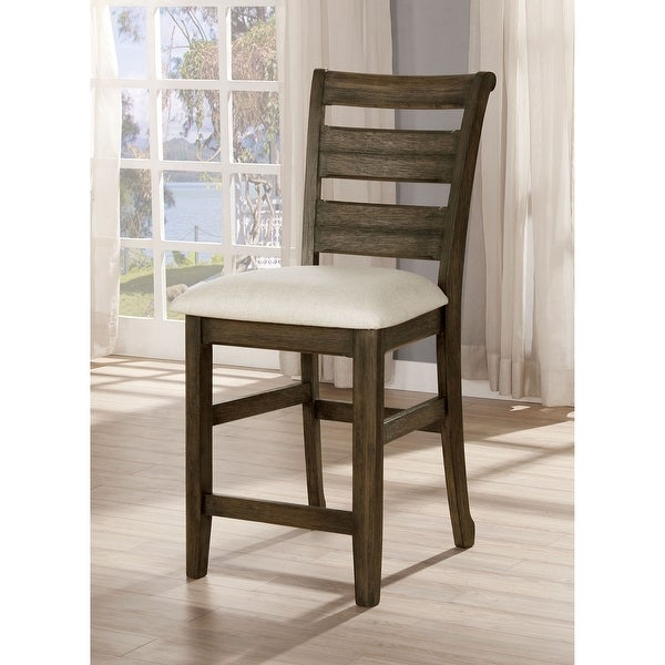 Furniture of America Nydia Transitional Light Walnut Counter Height Chairs (Set of 2). Opens flyout.