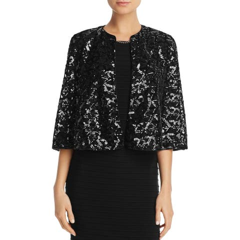 Laundry by Shelli Segal Black Women's 6 Sequin Capelet Jacket