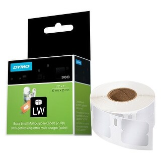 DYMO LW Extra-Small Multi-purpose Labels for LabelWriter Label Printers, White, 1/2'' x 1'', 1 roll of 1,000 (30333) - White