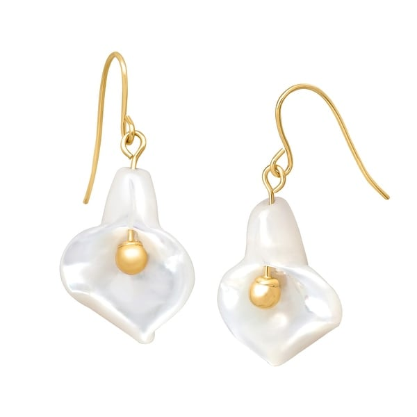 Natural Mother-of-Pearl Flower Drop Earrings in 14K Gold