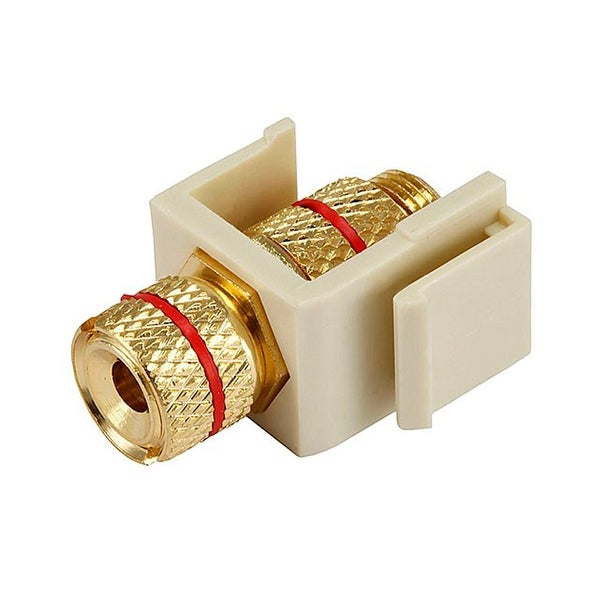 Monoprice Keystone Jack/Banana Jack With Red Ring  - Ivory – Screw Type, For Home Theater, Speaker Wire And More
