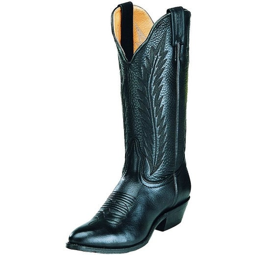 Boulet Western Boots Womens Cowboy Leather Sporty Black Deertan