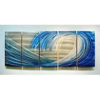 Statements2000 Blue / Silver Beach-Inspired Tropical Metal Wall Art Painting by Jon Allen - Shoot the Curl
