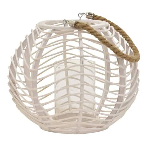 Plutus Brands Decorative Rattan Lantern in White Natural Fiber