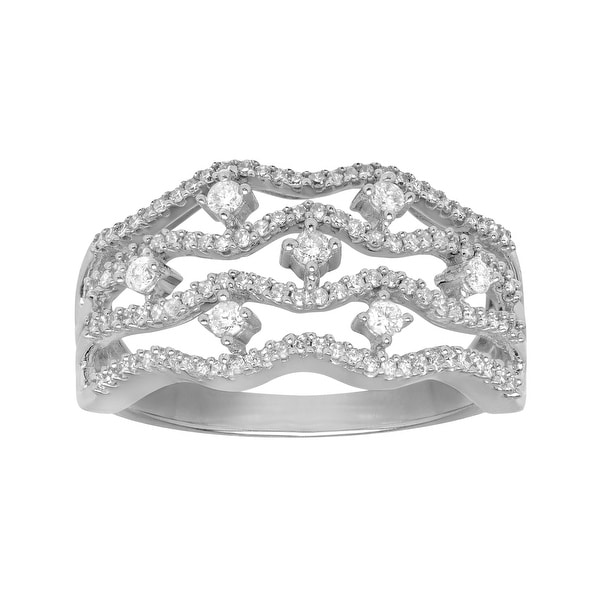 1/2 ct Diamond Bamboo Ring in 14K White Gold
