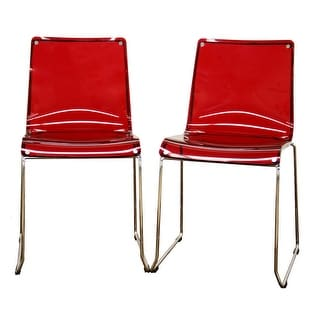 Lino Acrylic Accent Chair Dining Chair Transparent Red - 2 Chairs