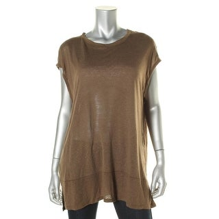 Free People Womens Linen Blend Heathered Tank Top - L