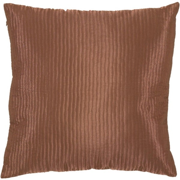 "20"" Terracotta Rust Shiny Ribbed Decorative Down Throw Pillow"