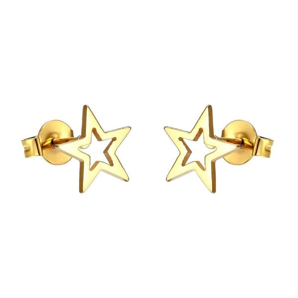 Texas Star Earrings 14k Gold Plate Stainless Steel Studs Mens Womens Classy