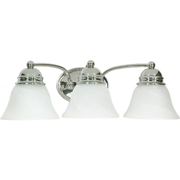 "Nuvo Lighting 60/338 Empire 3-Light 20-1/2"" Wide Bathroom Vanity Light with Frosted Glass Shades - Polished chrome - n/a"