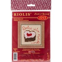 """Heart Cake Counted Cross Stitch Kit-4""""X4"""" 14 Count"""