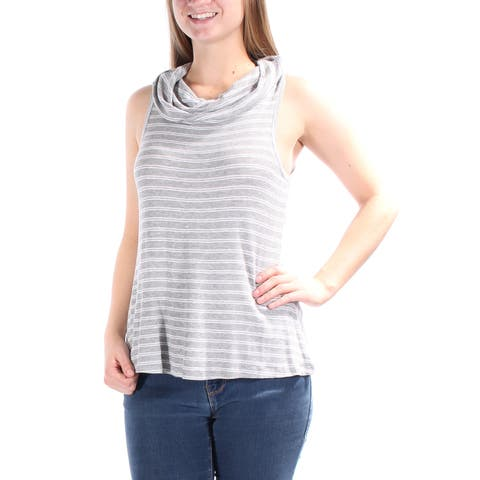 ULTRA FLIRT Womens Gray Striped Sleeveless Cowl Neck Top Juniors Size: S
