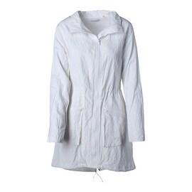 T Tahari Womens Orson Mock Neck Front Zip Coat - M