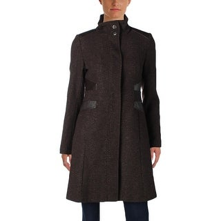 Via Spiga Womens Pea Coat Tweed Faux Leather Trim