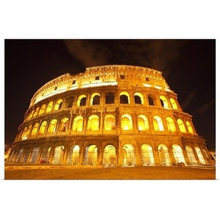 """""""A lit Colosseum in Rome, Italy"""" Poster Print"""