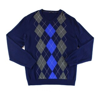 Club Room NEW Blue Grey Mens Size Large L Argyle Knit V-Neck Sweater