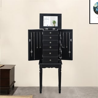 Link to Standing Jewelry Armoire with Mirror, 5 Drawers & 6 Necklace Hooks Similar Items in Bedroom Furniture
