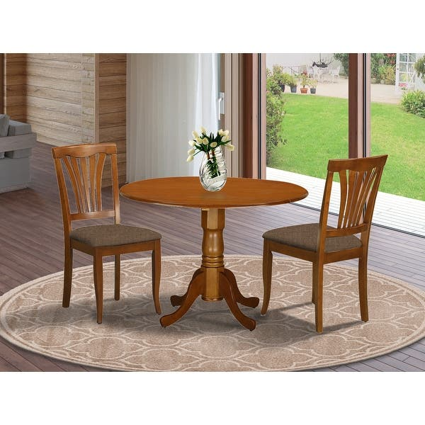Saddle Brown Round Kitchen Table And 2 Dinette Chairs 3 Piece Dining Set On Sale Overstock 10201092