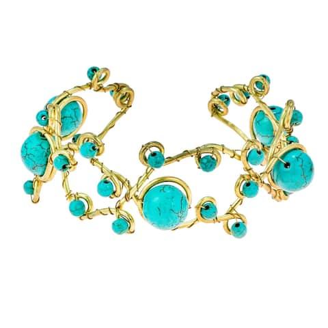 Handmade Open Swirls of Blue Turquoise Stone and Brass Adjustable Cuff Bracelet (Thailand)