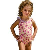 Sun Emporium Baby Girls Yellow Pink Cross Over Back Ties Swimsuit
