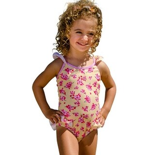 Sun Emporium Little Girls Yellow Pink Cross Over Back Ties Swimsuit