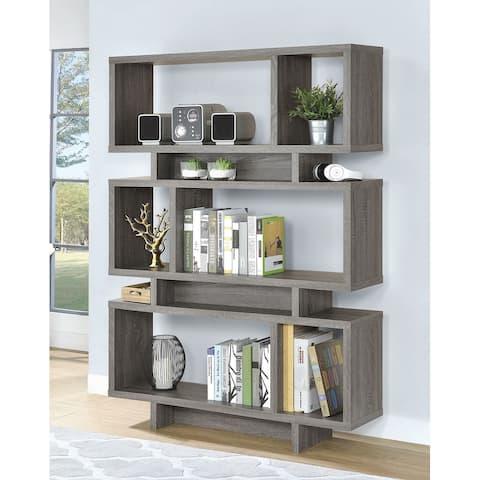Macon Contemporary Design Rustic Grey Bookcase Display Cabinet