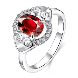 Petite Ruby Red Duo Hearts Laser Cut Ring