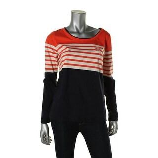 L-RL Lauren Active Womens 100% Cotton Striped Shirts & Tops - M