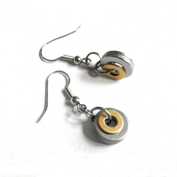Loralyn Designs Stainless Steel and Brass Simple Circle Dangle Earrings
