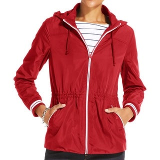 Tommy Hilfiger Womens Windbreaker Jacket Contrast Trim Drawstring Waist