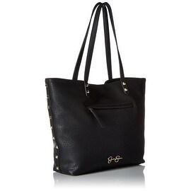 Jessica Simpson Womens Rodica Faux Leather Shopper Tote Handbag - Black - Medium