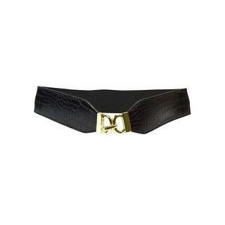 Style & Co. Women's Embossed Elastic Hook Belt - Black