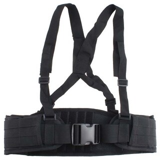 Image MOLLE Tactical Padded Belt Suspender Adjustable Police Duty Waist Belt Black