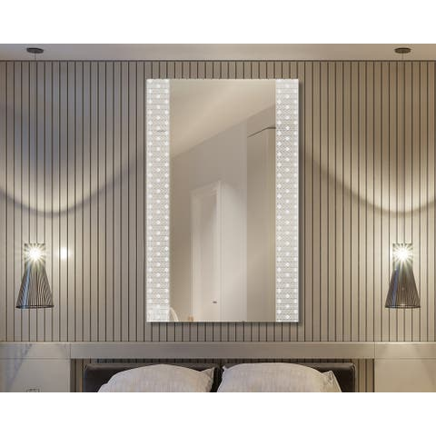 Modern Rectangle Wall Mirror Zebra Diamond Etched Decorative Floating Frameless Wall MirrorHangs Vertically or Horizontally