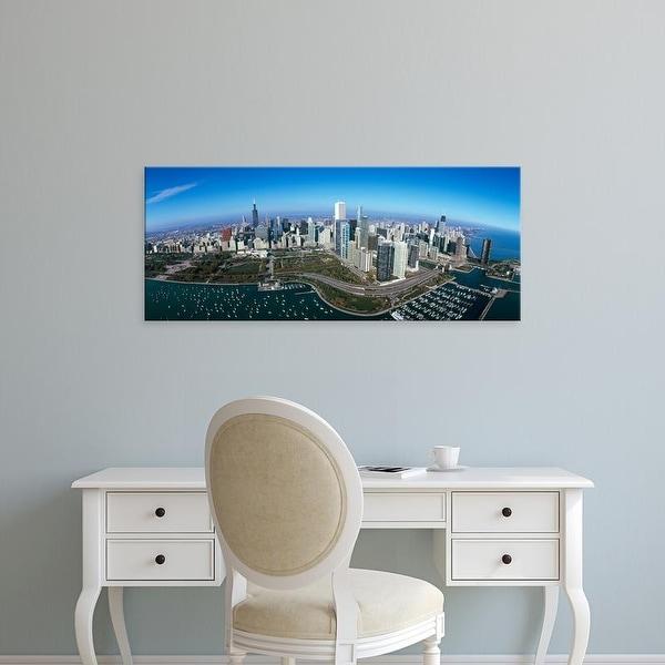 Easy Art Prints Panoramic Image 'Park in a city, Millennium Park, Lake Michigan, Chicago, Illinois' Canvas Art