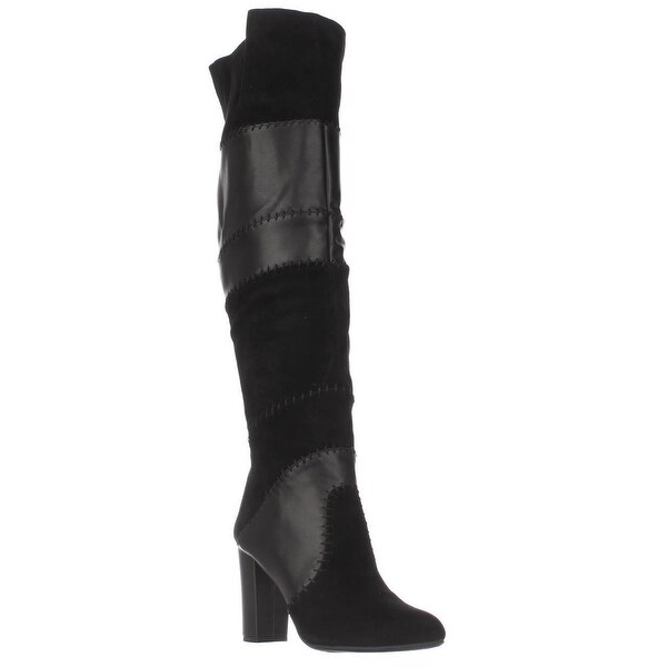 B35 Naomi Stitched Over The Knee Boots, Black