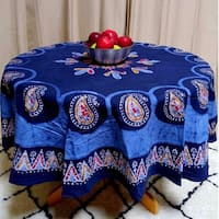 Handmade Multi Batik Mandala Floral Paisley Block Print Tablecloth 100% Cotton Blue Rectangle Square Round