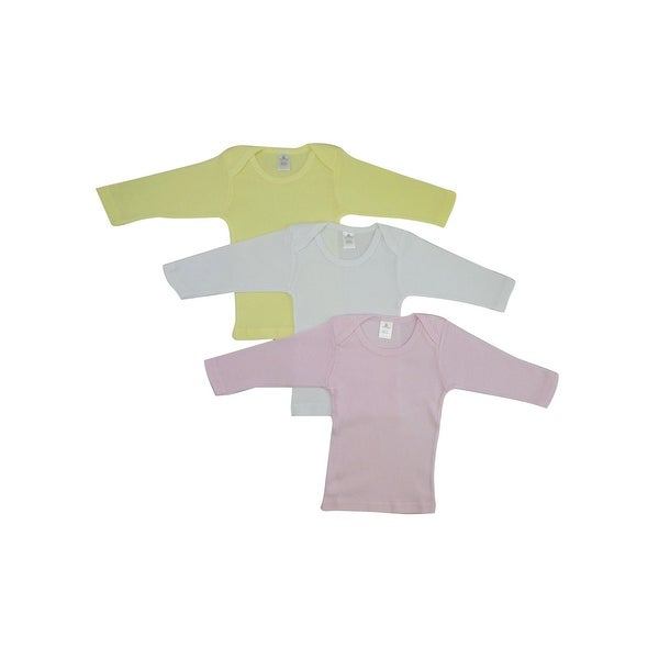 Bambini Baby Girl's White, Pink, Yellow Rib Knit Long Sleeve Lap T-Shirt 3-Pack