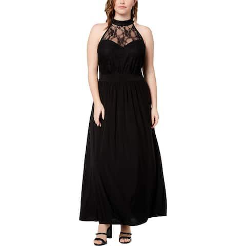Love Squared Womens Plus Maxi Dress Lace Illusion